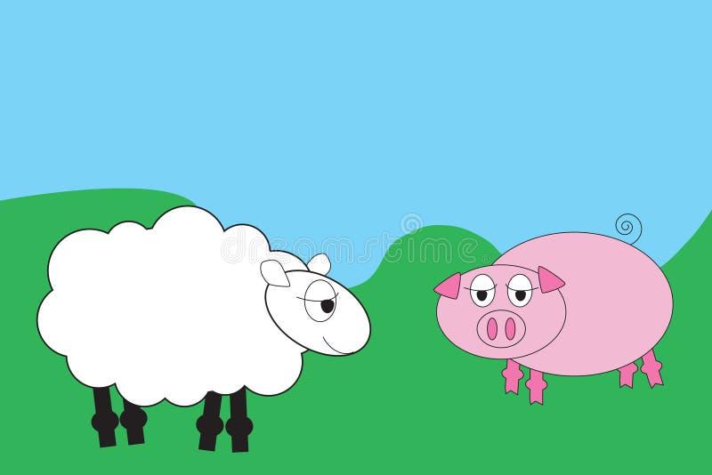 动物动画片农场 库存例证