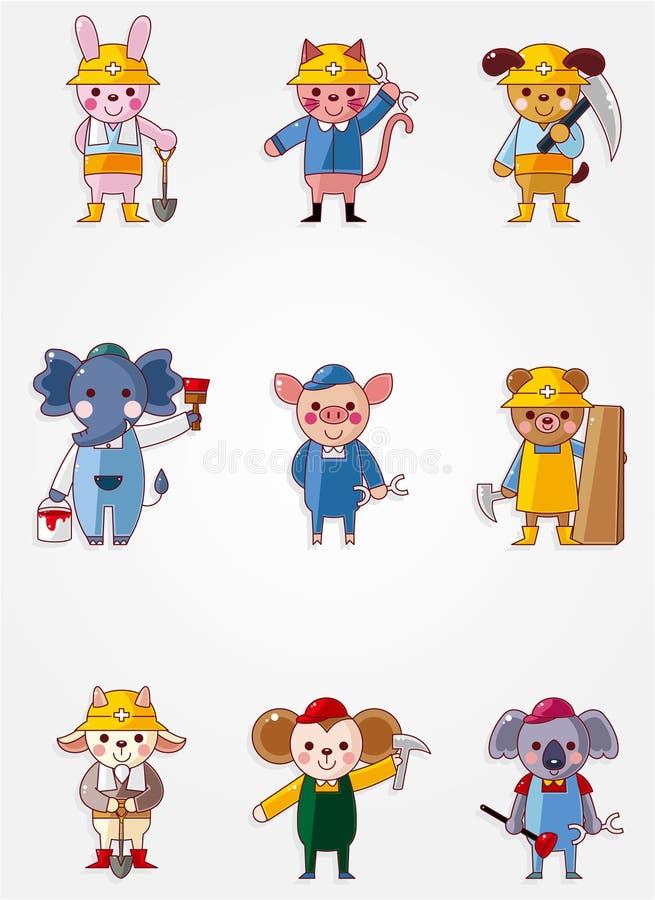 动物动画片图标工作者 皇族释放例证