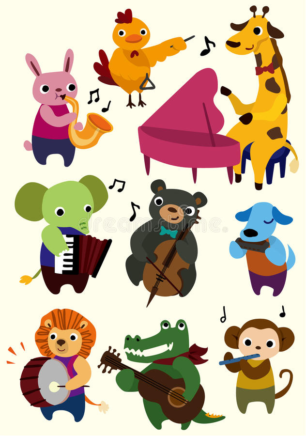 动物动画片图标音乐 向量例证