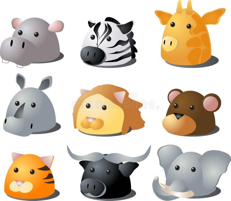 动物动画片徒步旅行队 向量例证