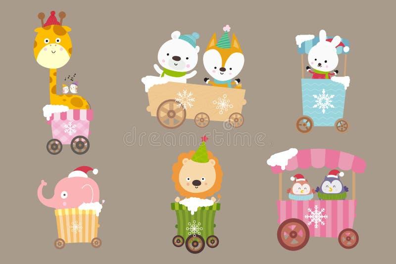 动物动画片的汇集在推车微笑的充满幸福00 库存例证