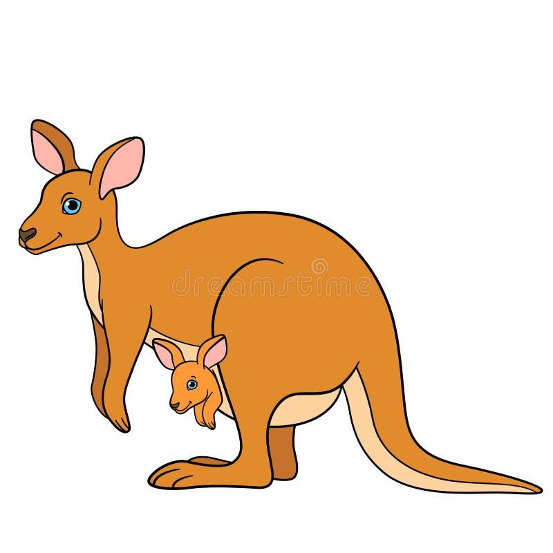 动物动画片被画的现有量查出的向量白色 与她的小逗人喜爱的婴孩的母亲袋鼠 向量例证