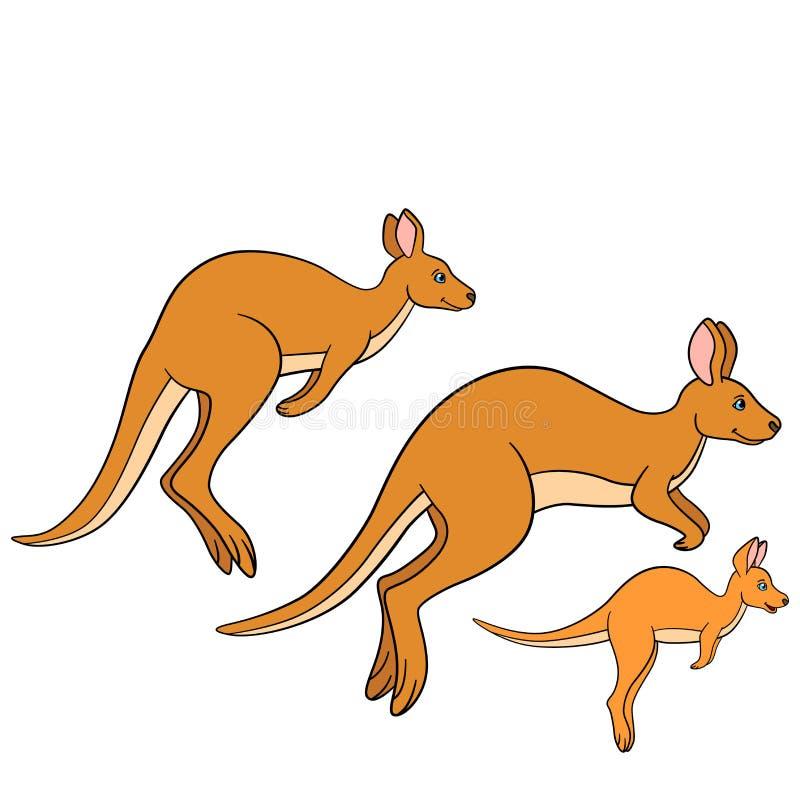 动物动画片被画的现有量查出的向量白色 袋鼠家庭奔跑 向量例证