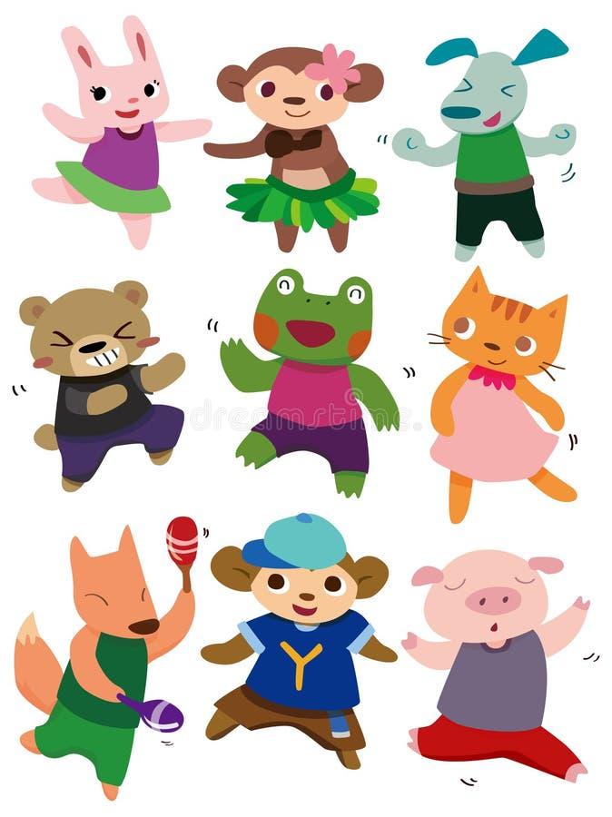 动物动画片跳舞 向量例证