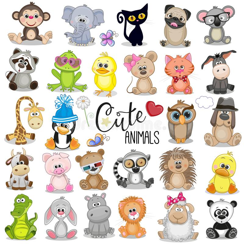 动物动画片逗人喜爱的集 库存例证