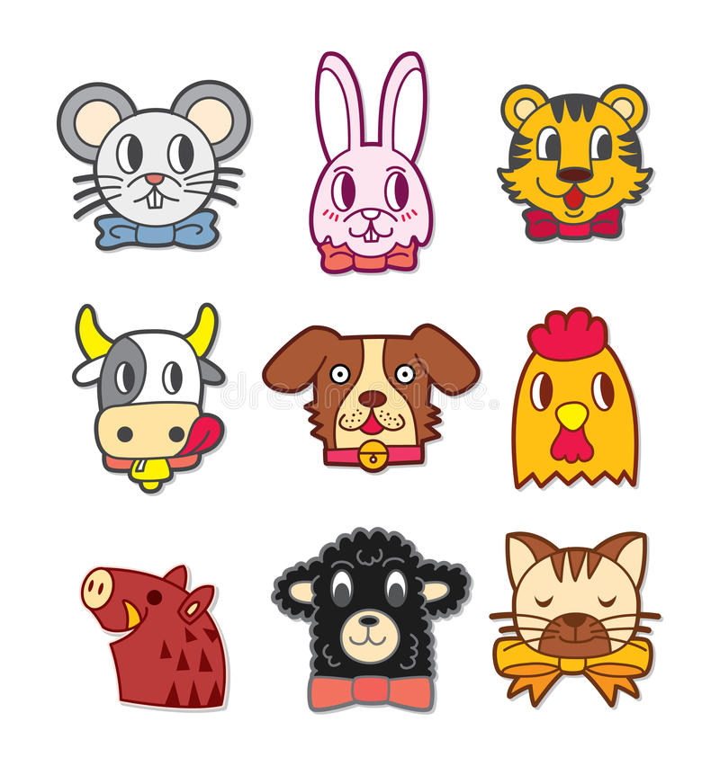 动物动画片逗人喜爱的题头 库存例证