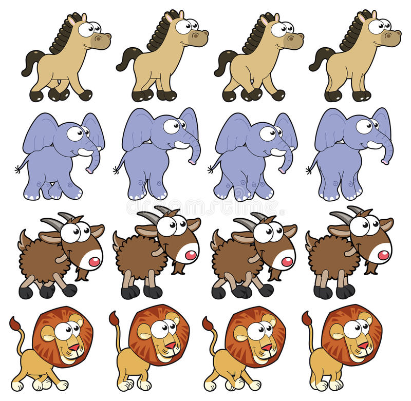 动物动画走 皇族释放例证