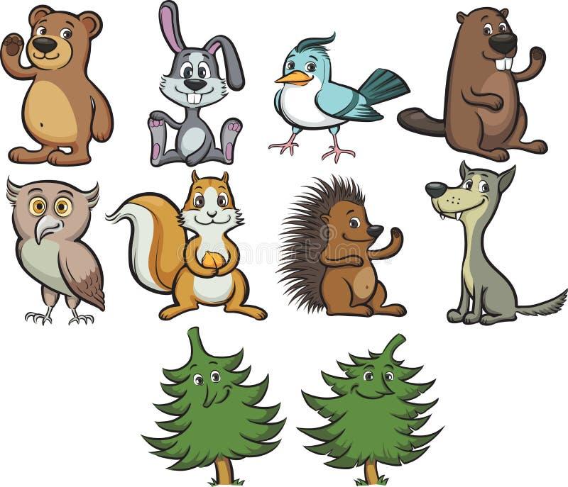 动物动画片逗人喜爱的森林 库存例证