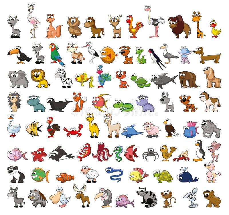 动物动画片逗人喜爱的集 皇族释放例证