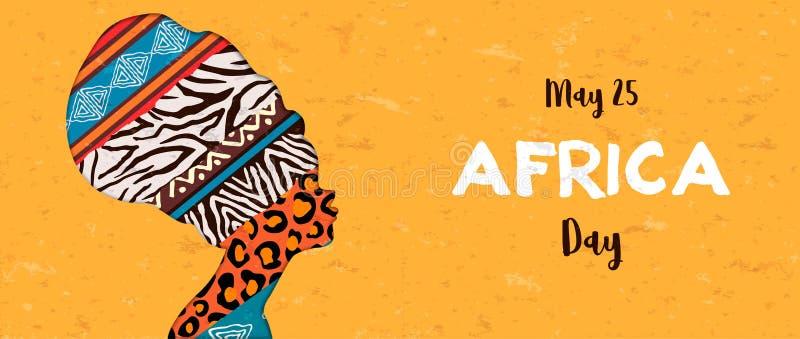 动物印刷品妇女愉快的非洲天横幅  库存例证