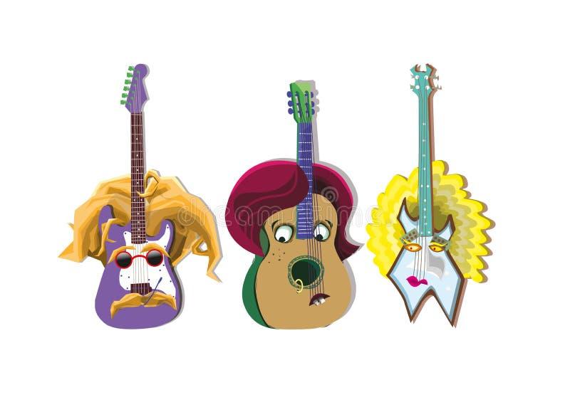 动物吉他画象 向量例证