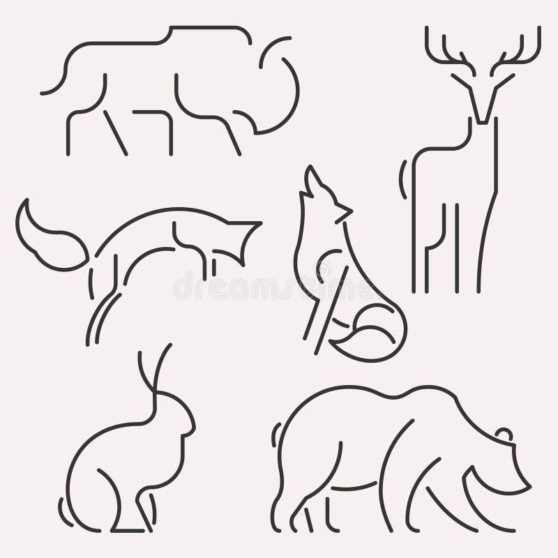 动物商标集合 向量例证