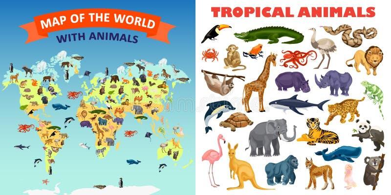 动物园动物横幅集合,动画片样式 库存例证