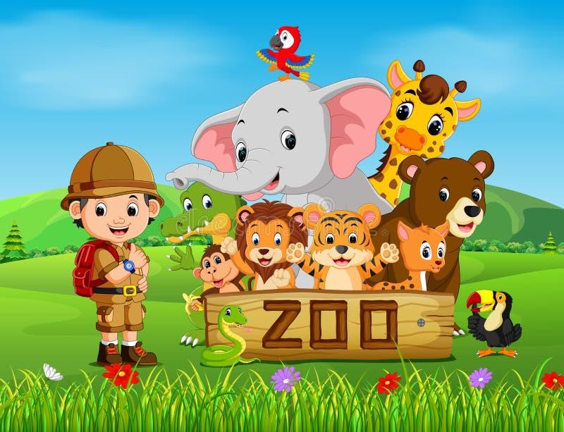 动物园动物的汇集与指南的 皇族释放例证