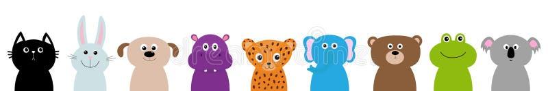动物园动物顶头面孔身体集合 逗人喜爱的卡通人物小儿童教育 猫,兔子,野兔,捷豹汽车,狗,河马 库存例证
