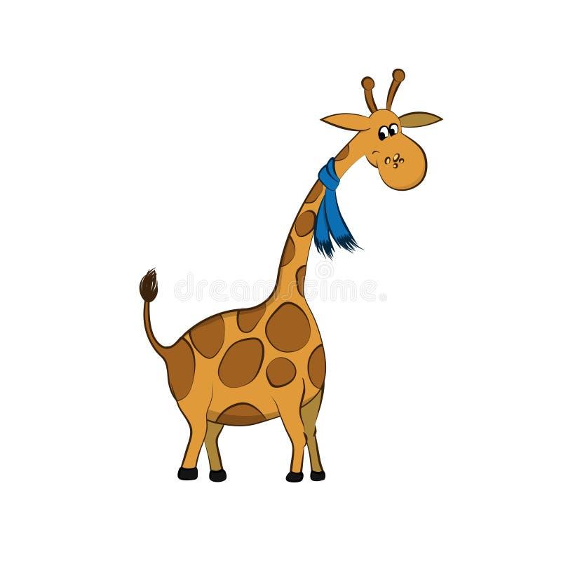 动物园动物  与围巾的长颈鹿在动画片样式 被隔绝的逗人喜爱的字符 库存例证