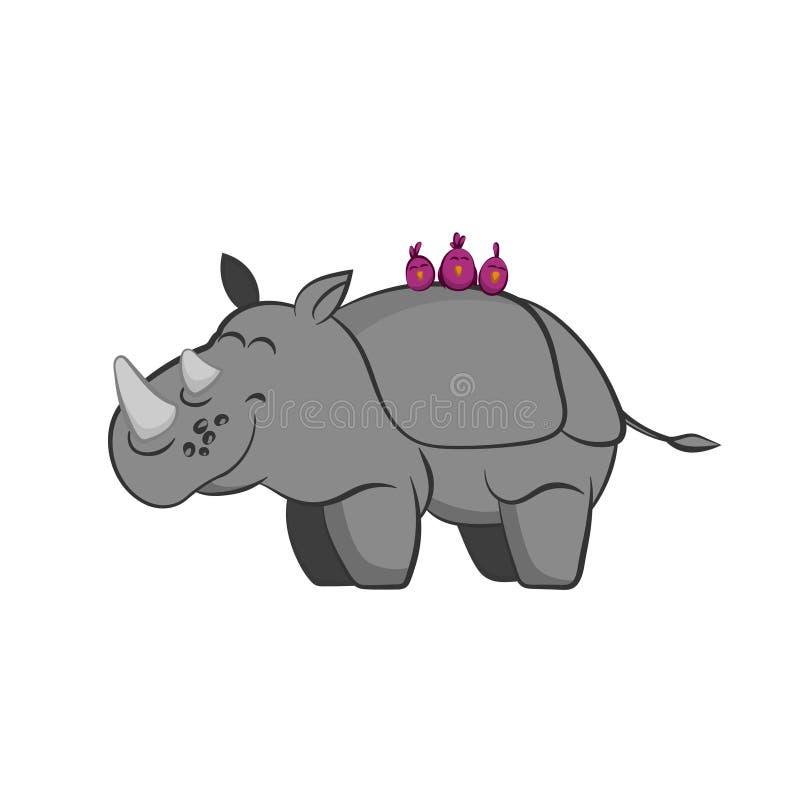 动物园动物  与鸟的犀牛在动画片样式的后面 被隔绝的逗人喜爱的字符 皇族释放例证