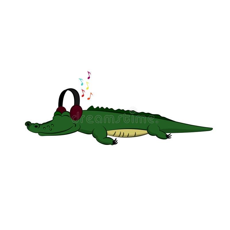 动物园动物  听到在动画片样式的音乐的鳄鱼 被隔绝的逗人喜爱的字符 向量例证