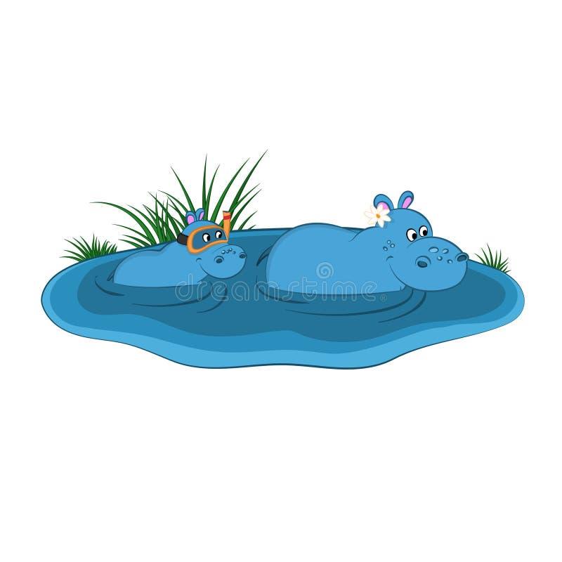 动物园动物  在动画片样式的河马家庭 被隔绝的逗人喜爱的字符 向量例证