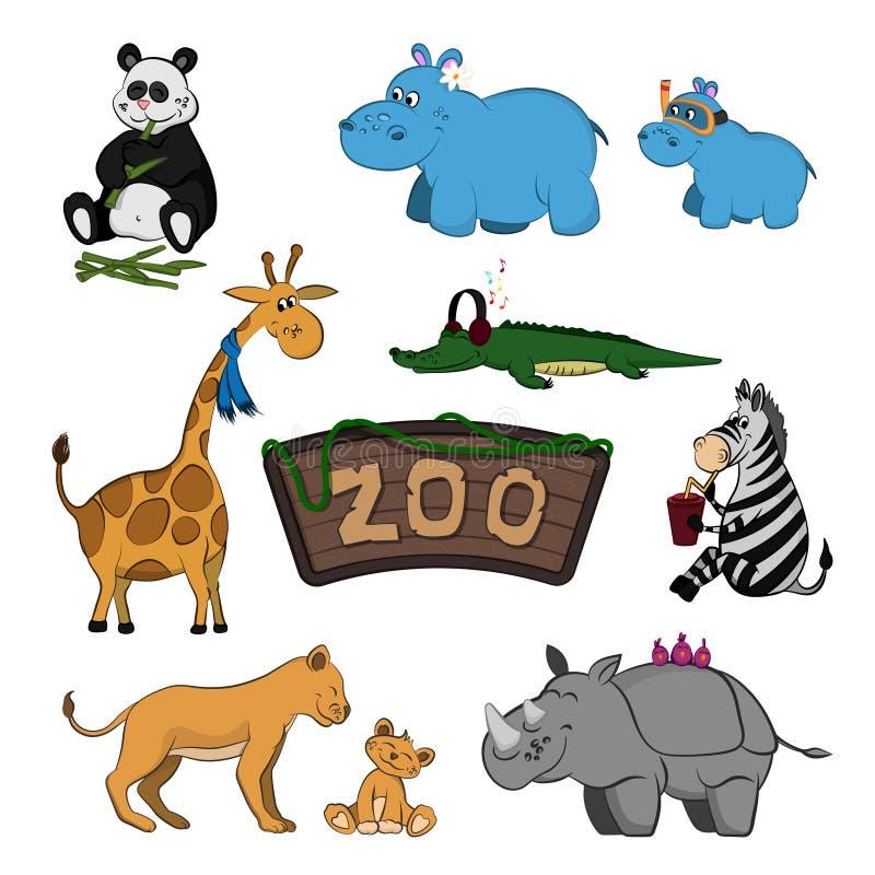 动物园动物  套在动画片样式的逗人喜爱的图象 被隔绝的逗人喜爱的字符 库存例证