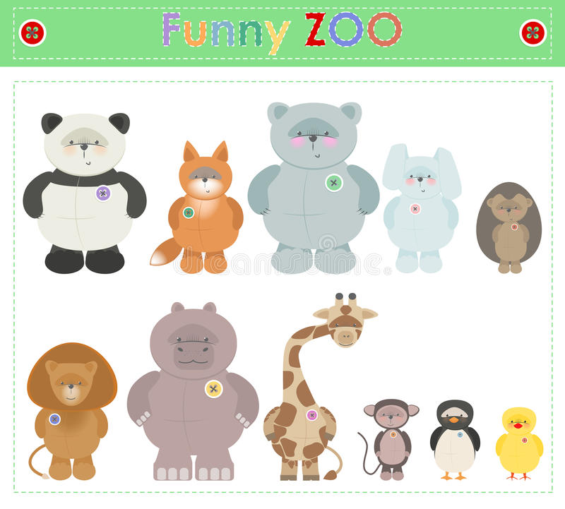动物园动物 滑稽的长毛绒小的动物传染媒介动画片 向量例证