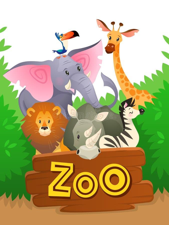 动物园动物 非洲徒步旅行队野生生物逗人喜爱的小组野生动物动物园横幅密林自然滑稽的绿色风景背景 皇族释放例证