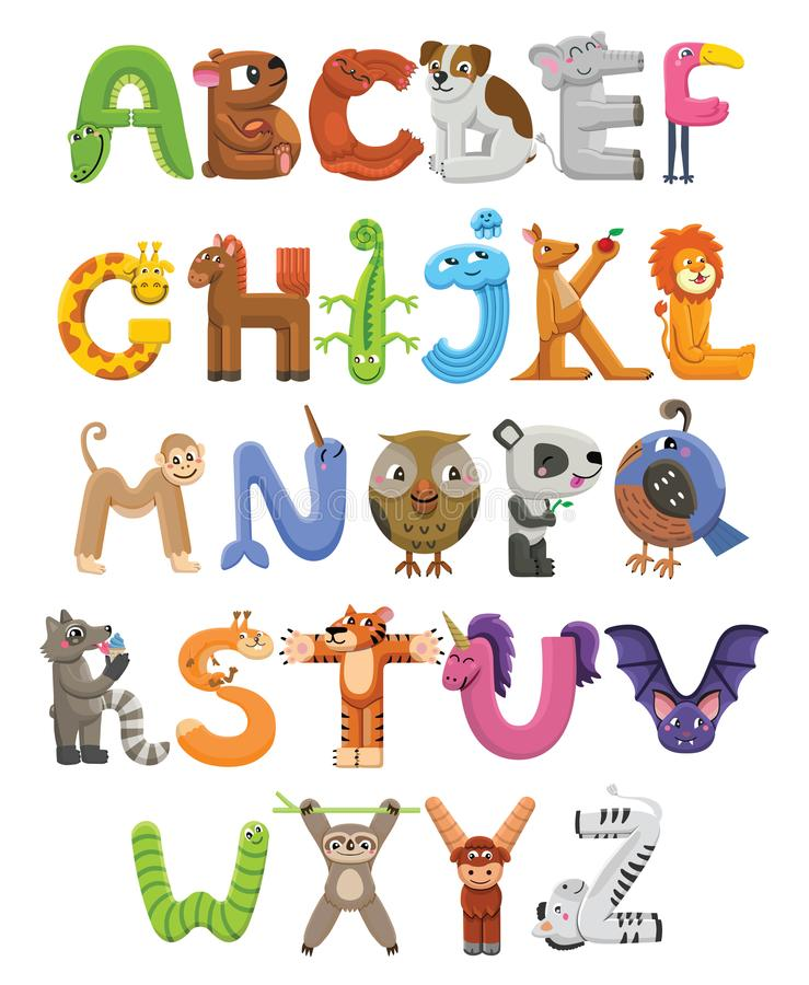 动物园字母表 字母表动物背景镜象向量白色 信件从A到Z 在白色背景隔绝的动画片逗人喜爱的动物 向量例证