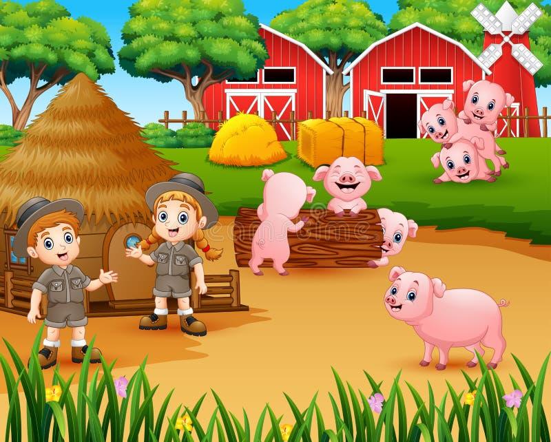 动物园管理员女孩和男孩有猪的在仓前空地 皇族释放例证