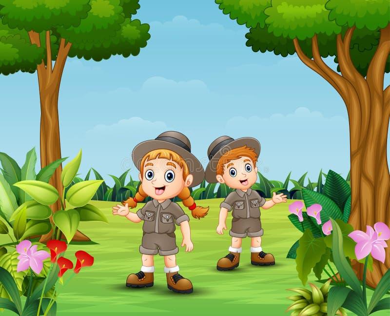 动物园管理员男孩和女孩动画片在庭院里 皇族释放例证