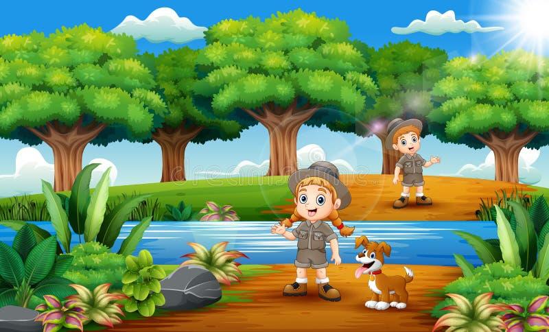 动物园管理员男孩和女孩动画片有狗的在密林 库存例证
