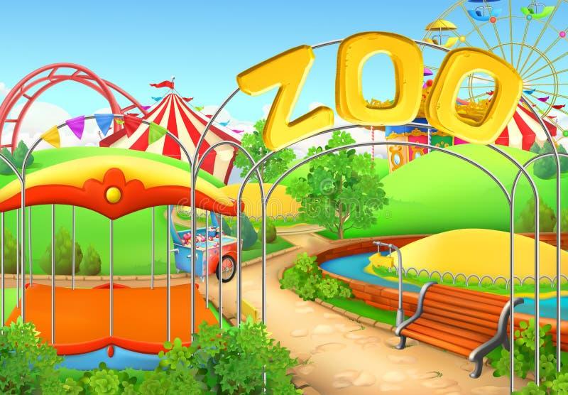 动物园,传染媒介背景 娱乐ferris晚上公园向量轮子 皇族释放例证
