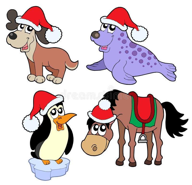 动物圣诞节收集 向量例证