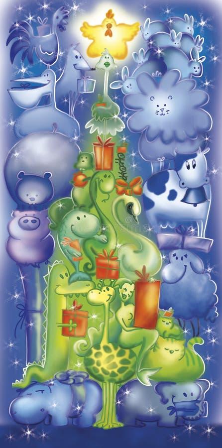 动物圣诞节滑稽的结构树 向量例证