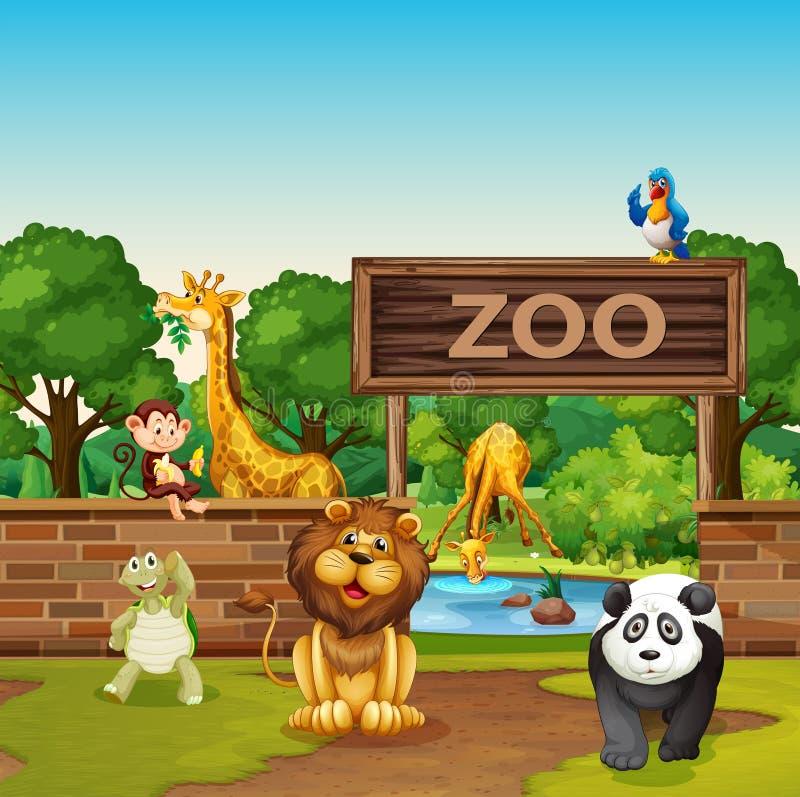 动物在动物园里 皇族释放例证