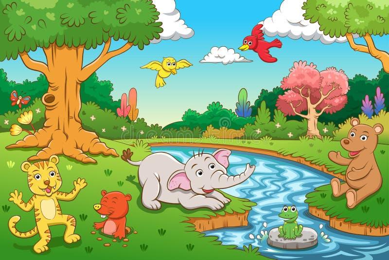 动物在密林。 向量例证