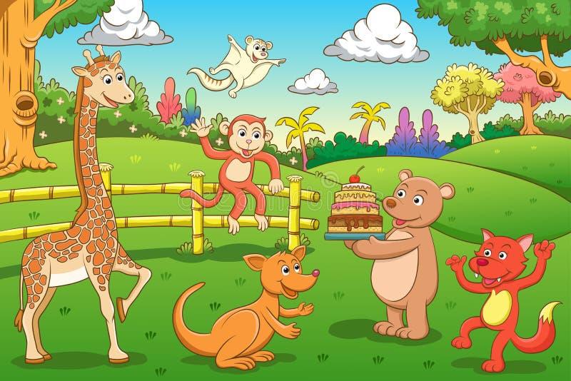 动物在密林。 库存例证