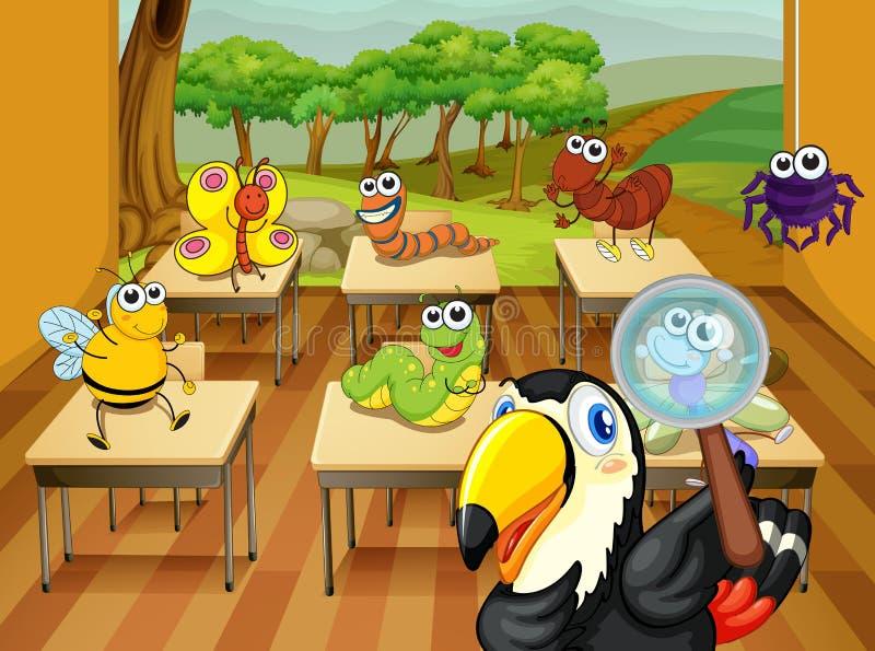 动物在教室 向量例证