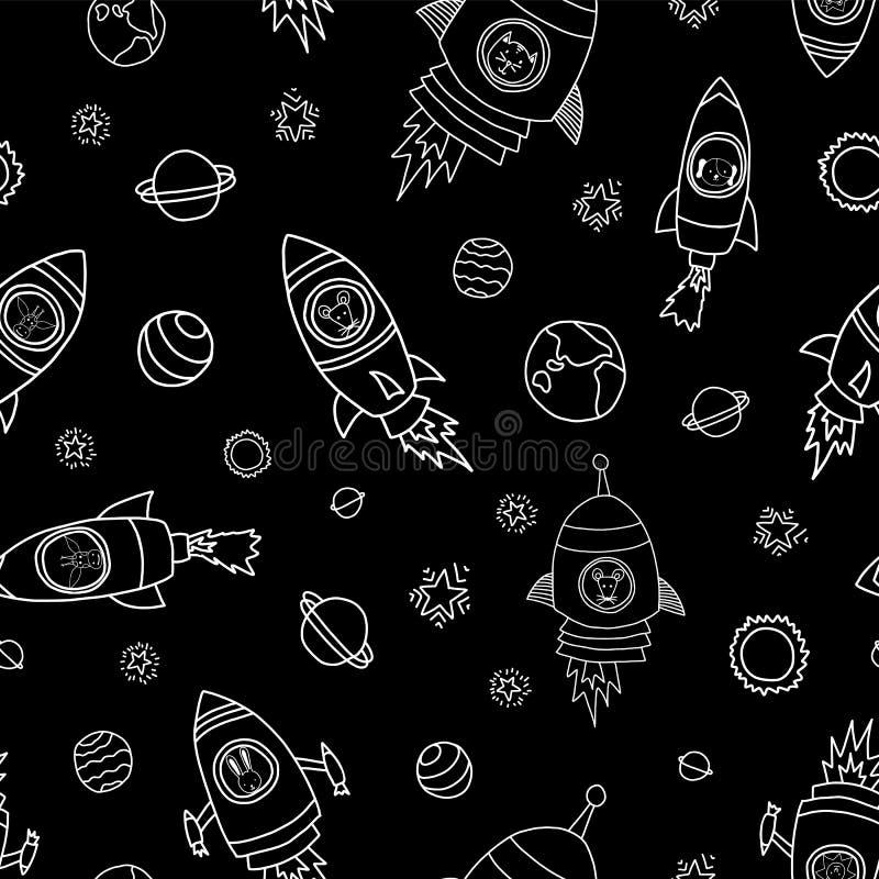 动物在空间无缝的传染媒介背景中 火箭队船 火箭船的动物宇航员老鼠、猫、长颈鹿、狗和狮子 库存例证