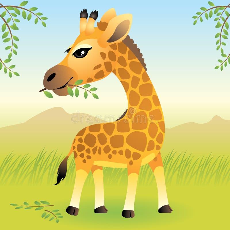 动物婴孩收集长颈鹿 库存例证