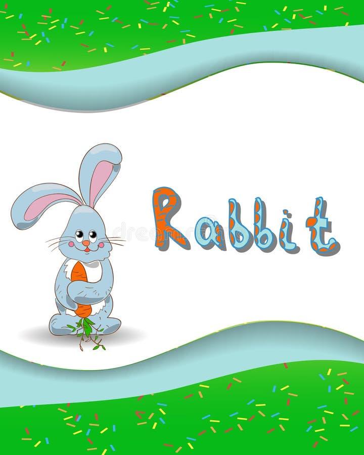 动物字母表信件R和兔子 向量例证