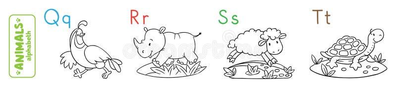 动物字母表或ABC 书五颜六色的彩图例证 向量例证