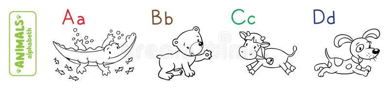动物字母表或ABC 书五颜六色的彩图例证 皇族释放例证