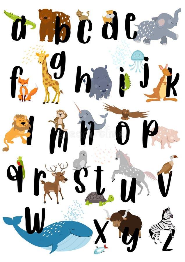 动物字母表海报 皇族释放例证