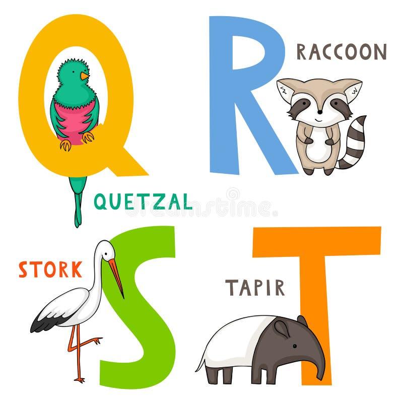 动物字母表Q、R、S和T 库存例证