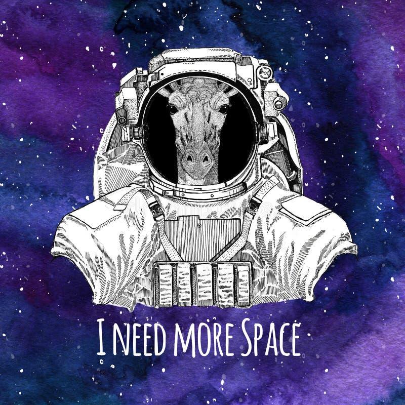 动物宇航员Camelopard,与星和星云水彩星系的长颈鹿佩带的航天服星系空间背景 向量例证