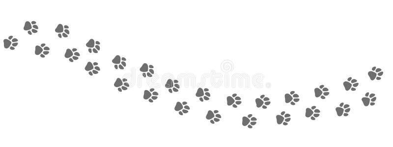 动物小径足迹  打印传染媒介被隔绝的狗或猫爪子在白色背景 向量例证