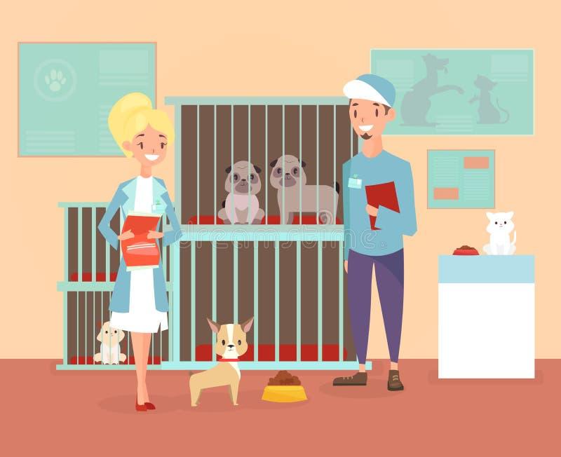 动物庇护所的传染媒介例证与志愿者字符的与狗和猫 保护,采取宠物概念 愉快 库存例证