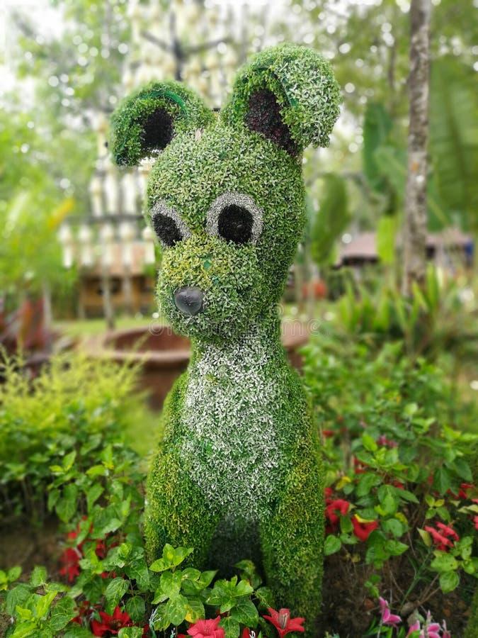 动物形状的灌木在庭院,树被整理对 图库摄影