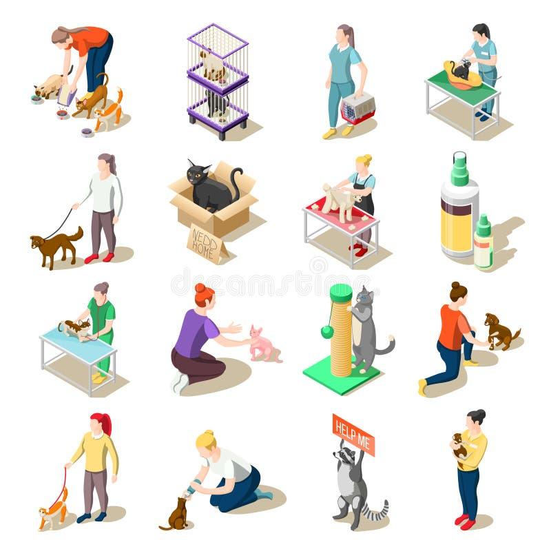 动物护养志愿等量象 库存例证