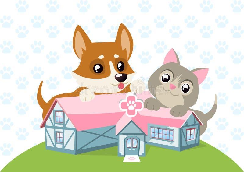 动物护养医院愉快的狗和猫 库存例证. 插画 包括有